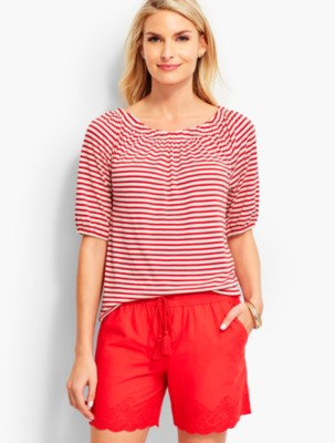 "Talbots Women's Lucia Stripes ""Off The Shoulder"" Tee prdi42834"