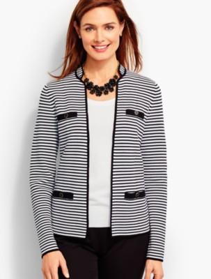Talbots Women's Stripe Sweater Jacket prdi42802