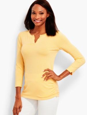 Talbots Women's UPF 50+ Side Ruched Tee Voyage Stripes prdi42363