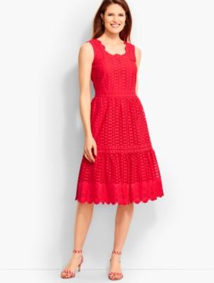 Talbots Women's Mixed Eyelet Lace Dress prdi42858