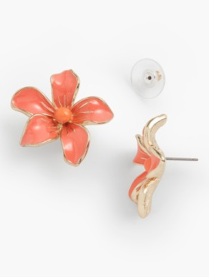 New 1940s Costume Jewelry: Necklaces, Earrings, Pins Talbots Womens Tropical Flower Earrings $29.99 AT vintagedancer.com