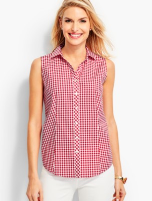 1950s Tops and Blouse Styles Talbots Womens The Perfect Sleeveless Shirt Gingham $69.50 AT vintagedancer.com