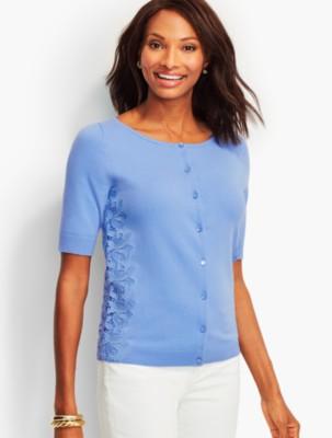 Talbots Women's Lace Elbow Sleeve Cardigan prdi42448