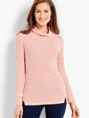 Talbots Women's Outlook Stripe Scrunch Neck Top prdi43811
