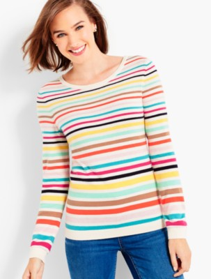 Talbots Women's Rainbow Stripes Sweater prdi43860