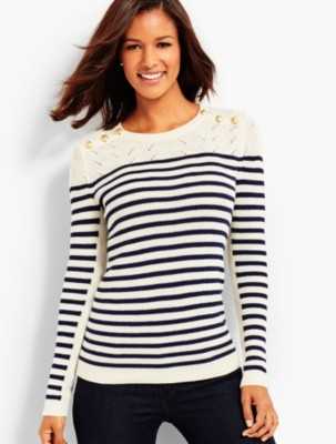 Talbots Women's Marie Stripes Shoulder Button Sweater prdi43388