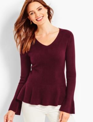 Talbots Women's Ribbed Cashmere Peplum Sweater prdi43796