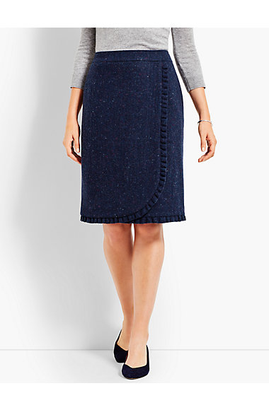 Donegal Tweed Shetland Ruffle Wrap Skirt by Talbots