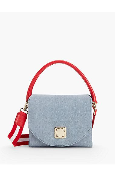 Sueded Denim Crossbody Bag