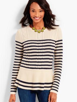 Talbots Women's Striped Cable Peplum Sweater prdi43925
