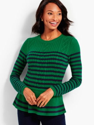 Talbots: Striped Cable Peplum Sweater prdi43925