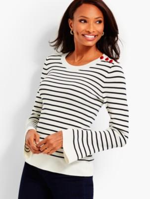 Talbots Women's Button Shoulder Sweater Stripe prdi44699