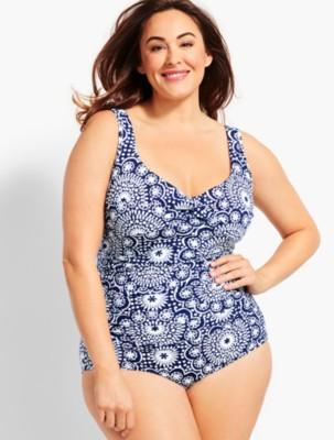 Talbots Women's Womans Exclusive Dot Tile Marina One Piece Swim Suit prdi45534