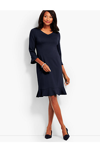 Flounce Refined Ponte Sheath Dress by Talbots