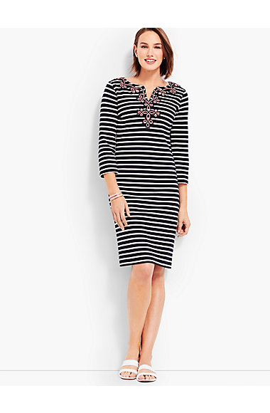 Embroidered Neckline Stripe Shift Dress by Talbots