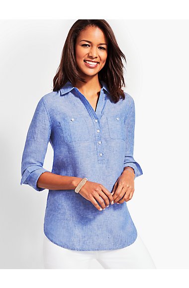 Linen Camp Shirt   Cross Dyed by Talbots