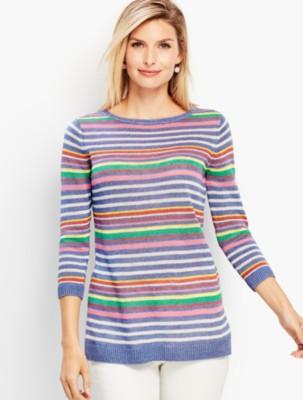Talbots Women's Petunia Stripe Linen Crewneck Sweater prdi45646
