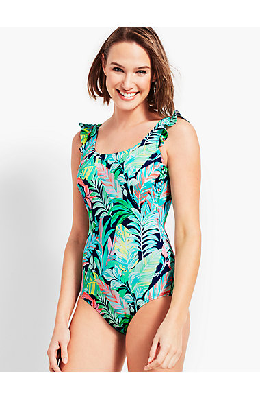 Tropical Fusion Ruffle Shoulder Swim Suit by Talbots