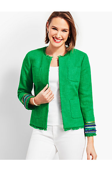 Embellished Cuff Tweed Jacket by Talbots