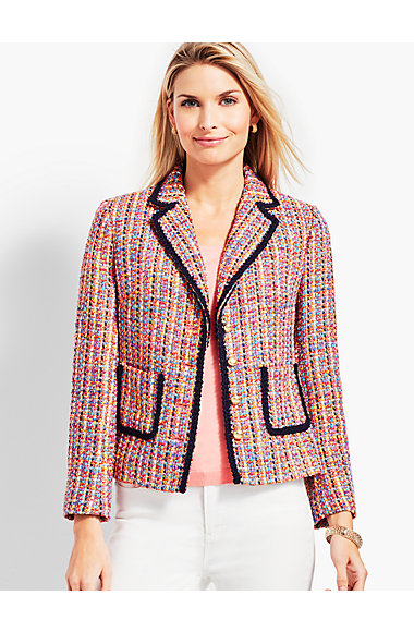 Tweed Contrast Trim Jacket by Talbots