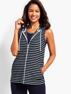 Talbots Women's Saltwater Stripe Hooded Zip Front Terry Vest prdi45951