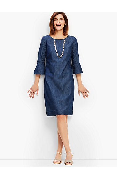 Denim Flounce Sleeve Shift Dress by Talbots