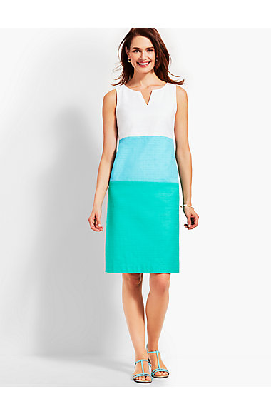 Textured Colorblock Sheath Dress by Talbots