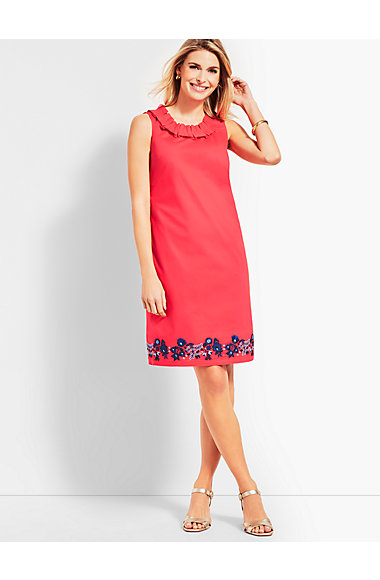 Embroidered Pleat Neck Shift Dress by Talbots