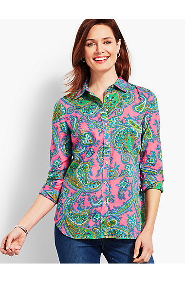Classic Cotton Shirt Paisley by Talbots