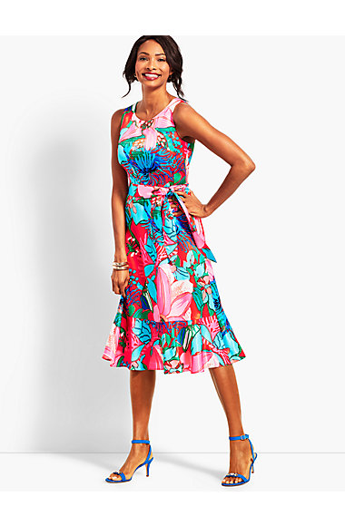 Tropical Floral Fit And Flare Dress by Talbots