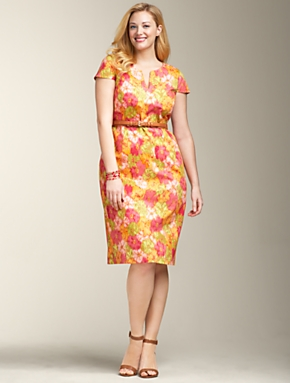 Plus Size Watercolor Floral Dress