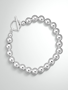 Sterling Silver Bead Toggle Bracelet