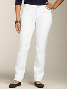 Signature Fit White Straight-Leg Jeans