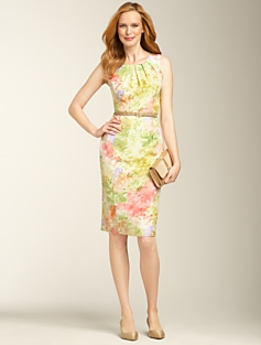 Silk Doupioni Watercolor-Floral Dress