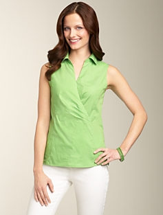 Pindot Surplice-Wrap Shirt
