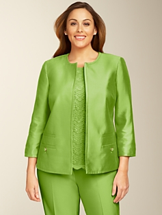 Doupioni Jewel-Neck Jacket