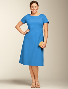 Capped-Sleeve A-Line Dress