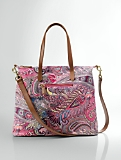 Printed Canvas & Leather Tote
