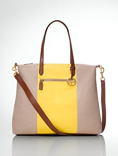 Striped Canvas & Leather Tote