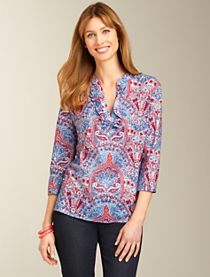 Cotton Ruffled Paisley Tunic
