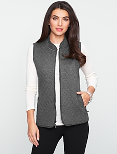 Quilted Zip-Front Knit Vest