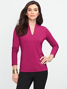 Platinum Jersey Stand V-Neck Top