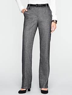 Curvy Donegal Tweed Straight-Leg Pants