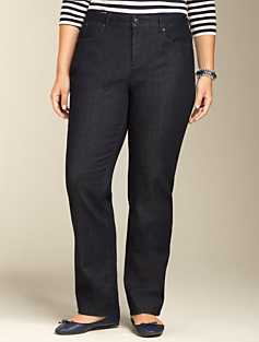 Curvy Dark Atlantic Rinse Straight-Leg Jeans
