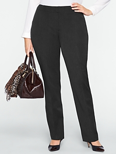Curvy Fly Front Bi-Stretch Slim-Leg Pants