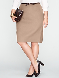 Double-Faced Wool Ruffle-Back Skirt