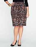 Animal-Print Pencil Skirt