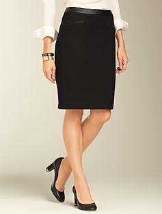 Ponte Knit Zip-Pocket Pencil Skirt