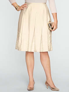Sequin-Trimmed Silk Pleated Skirt