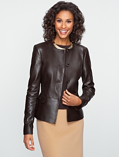 Jewel-Neck Leather Jacket